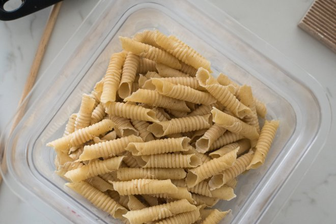 6-8 portions of garganelli, all done.