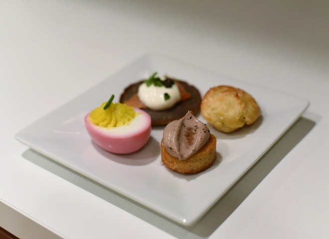 four appetizers on plate