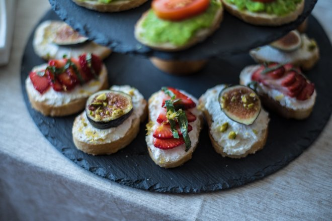Pro-tip: use the same base (in this case, ricotta cheese), while varying up the toppings makes it easy to serve different types of crostini without a lot of extra work!