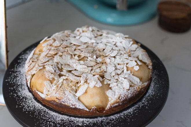 My light and fruity pear and almond cake. Unfortunately we didn't snap one of the cream, which was delicious and totally made this simple dessert shine!