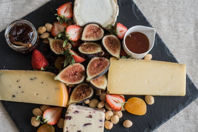 Great parties start with a great cheeseboard. My favorites: truffle gouda, wensleydale with cranberries, cave aged cheddar, creamy goat cheese, truffled marcona almonds, dried apricots and cranberries, fresh strawberries, fresh figs, fig jam, and wildflower honey.